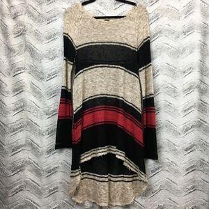 Free People Block of Stripes Sweater Tunic